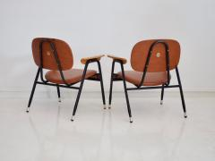 Pair of Italian Brown Leather and Black Painted Metal Chairs - 1296155