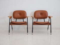 Pair of Italian Brown Leather and Black Painted Metal Chairs - 1296156