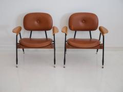 Pair of Italian Brown Leather and Black Painted Metal Chairs - 1296158