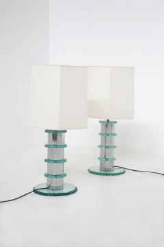 Pair of Italian Contemporary Table Lamps in hammered glass and steel 2010s - 1568017