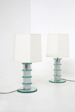 Pair of Italian Contemporary Table Lamps in hammered glass and steel 2010s - 1568018