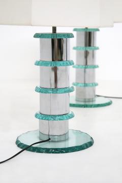 Pair of Italian Contemporary Table Lamps in hammered glass and steel 2010s - 1568019