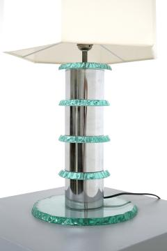 Pair of Italian Contemporary Table Lamps in hammered glass and steel 2010s - 1568022