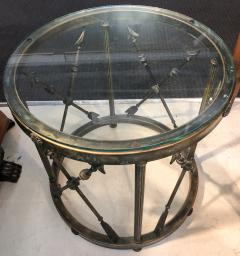 Pair of Italian Drum Side Tables with Arrow Details - 1045320