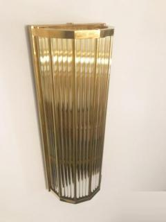 Pair of Italian Glass Straws Gold Plated Wall Sconces - 1341990