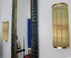Pair of Italian Glass Straws Gold Plated Wall Sconces - 1341991