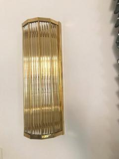 Pair of Italian Glass Straws Gold Plated Wall Sconces - 1341993
