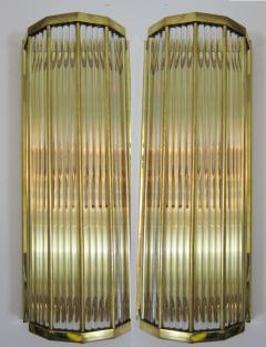 Pair of Italian Glass Straws Gold Plated Wall Sconces - 1341994