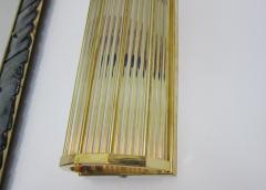 Pair of Italian Glass Straws Gold Plated Wall Sconces - 1341997