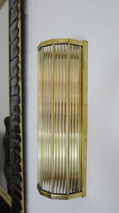 Pair of Italian Glass Straws Gold Plated Wall Sconces - 1342002