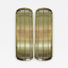 Pair of Italian Glass Straws Gold Plated Wall Sconces - 1342585