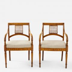 Pair of Italian Inlaid Armchairs - 1314096