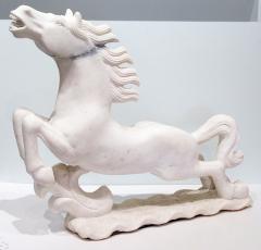 Pair of Italian Late Art Deco White Carrera Marble Figures of Stallions - 685328