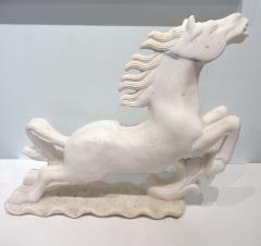 Pair of Italian Late Art Deco White Carrera Marble Figures of Stallions - 685350