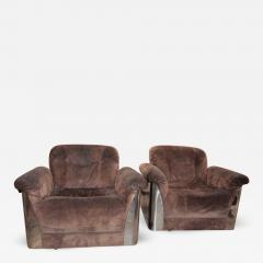 Pair Of Italian Leather Armchairs With Chromed Steel Bases   545042