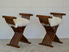 Pair of Italian Mid Century X Form Benches Stools - 1023589