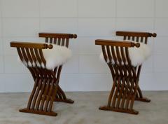 Pair of Italian Mid Century X Form Benches Stools - 1023590