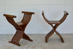 Pair of Italian Mid Century X Form Benches Stools - 1023591