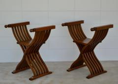 Pair of Italian Mid Century X Form Benches Stools - 1023592