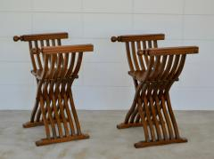 Pair of Italian Mid Century X Form Benches Stools - 1023593