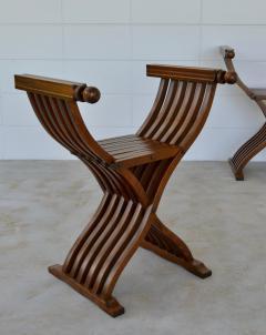 Pair of Italian Mid Century X Form Benches Stools - 1023594