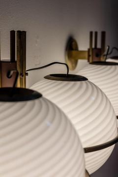 Pair of Italian Midcentury Brass and Glass Wall Lights - 1862714