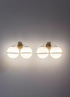 Pair of Italian Midcentury Brass and Glass Wall Lights - 1862725