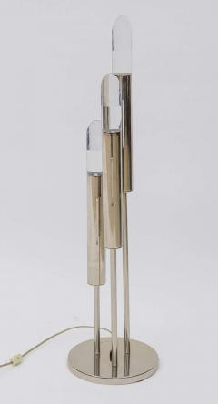 Pair of Italian Modern Polished Chrome and Lucite Table Lamps - 373049