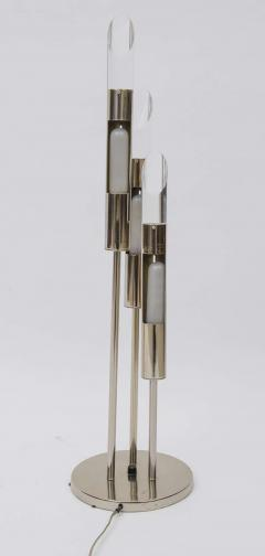 Pair of Italian Modern Polished Chrome and Lucite Table Lamps - 373050