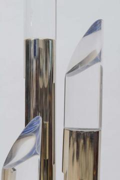 Pair of Italian Modern Polished Chrome and Lucite Table Lamps - 373054