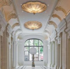 Pair of Italian Murano Glass Gold Leaves Modern Flush Mount or Ceiling Light - 1506907