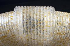 Pair of Italian Murano Glass Gold Leaves Modern Flush Mount or Ceiling Light - 1506912