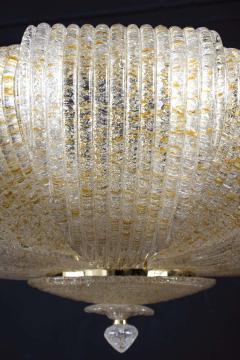 Pair of Italian Murano Glass Gold Leaves Modern Flush Mount or Ceiling Light - 1506914