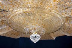 Pair of Italian Murano Glass Gold Leaves Modern Flush Mount or Ceiling Light - 1506916