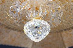 Pair of Italian Murano Glass Gold Leaves Modern Flush Mount or Ceiling Light - 1506919