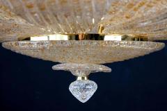 Pair of Italian Murano Glass Gold Leaves Modern Flush Mount or Ceiling Light - 1506921