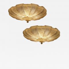 Pair of Italian Murano Glass Gold Leaves Modern Flush Mount or Ceiling Light - 1509737