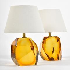 Pair of Italian Murano amber rock table lamps - 1219349