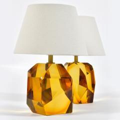 Pair of Italian Murano amber rock table lamps - 1219363