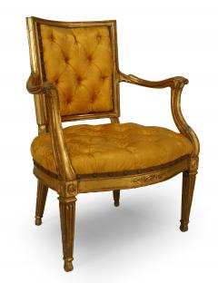 Pair of Italian Neo Classic Gold Arm Chairs - 1399899