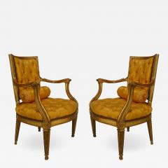 Pair of Italian Neo Classic Gold Arm Chairs - 1403415