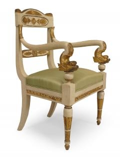 Pair of Italian Neo Classic Painted Arm Chairs - 1402102
