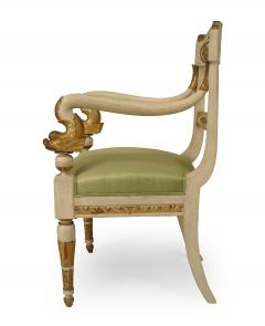 Pair of Italian Neo Classic Painted Arm Chairs - 1402103