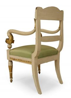Pair of Italian Neo Classic Painted Arm Chairs - 1402104