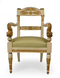Pair of Italian Neo Classic Painted Arm Chairs - 1402105