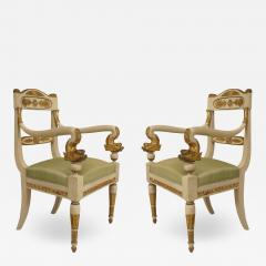 Pair of Italian Neo Classic Painted Arm Chairs - 1407672