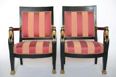 Pair of Italian Neoclassic Ebonized and Parcel Gilt Armchairs - 391186