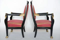 Pair of Italian Neoclassic Ebonized and Parcel Gilt Armchairs - 391187