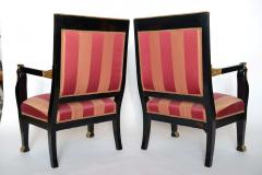 Pair of Italian Neoclassic Ebonized and Parcel Gilt Armchairs - 391188