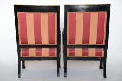 Pair of Italian Neoclassic Ebonized and Parcel Gilt Armchairs - 391189
